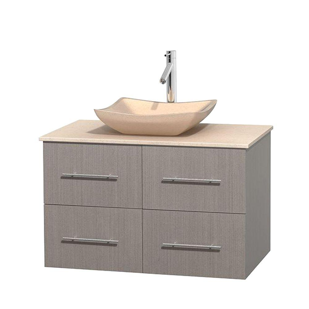 Wyndham Collection Centra 36 in. Vanity in Gray Oak with Marble Vanity Top in Ivory and Sink