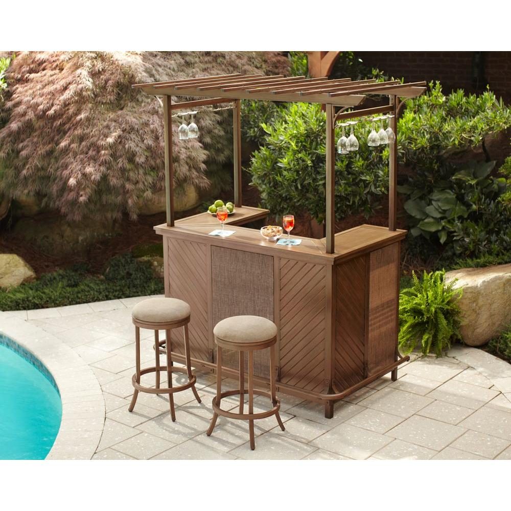 Hampton Bay Decker 3-Piece Patio Pergola Bar Set
