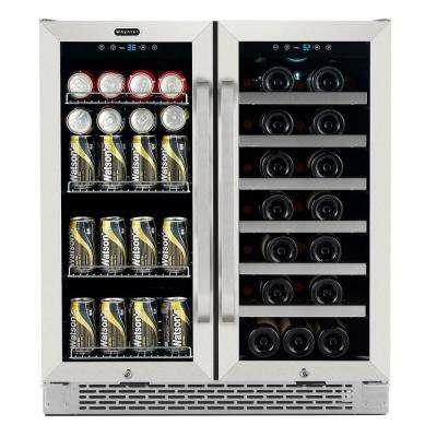 30 in. Built-In French Door Dual Zone 33-Bottle Wine and 88-Can Beverage Cooler