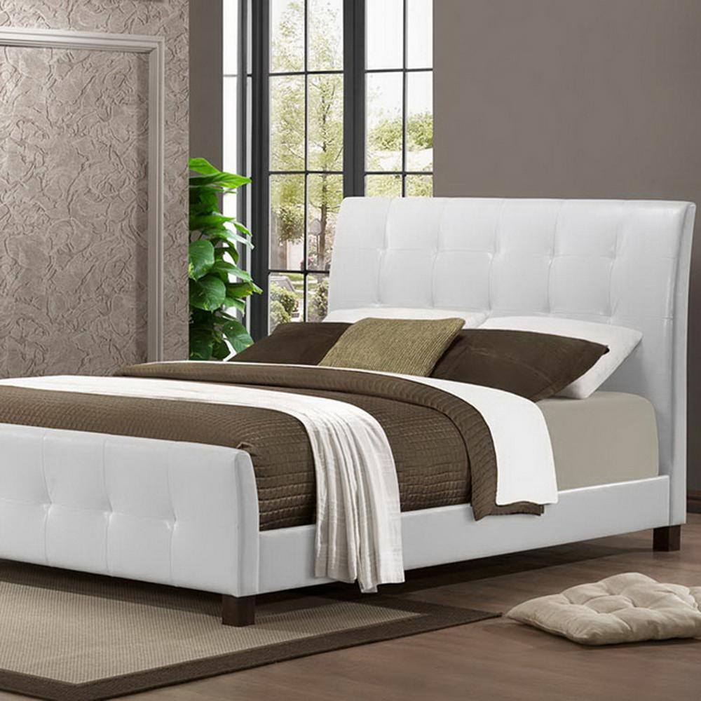 Baxton Studio Amara Transitional White Faux Leather Upholstered Queen Size Bed 28862 4628 Hd The Home Depot