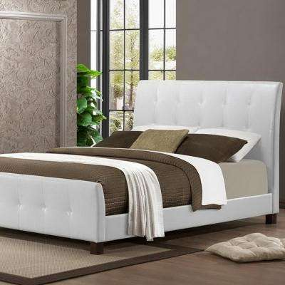 Amara Transitional White Faux Leather Upholstered Queen Size Bed