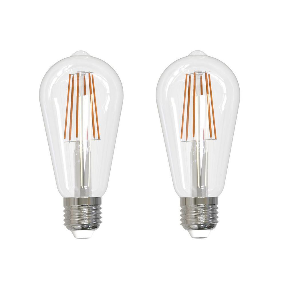 60-Watt Equivalent Warm White Light ST18 Dimmable Filament JA8 LED Light Bulb (2-Pack)