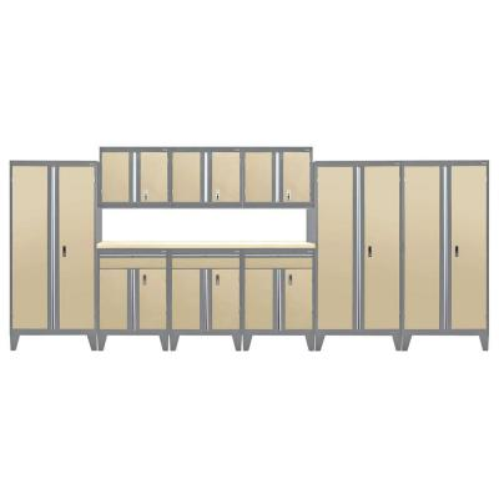 79 in. H x 219 in. W x 18 in. D Modular Garage Welded Steel Cabinet Set in Charcoal/Tropic Sand (10-Piece)