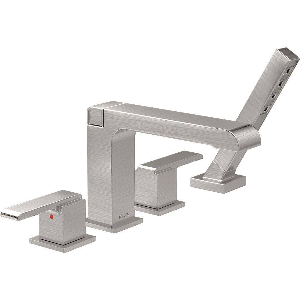 Delta Ara 2-Handle Deck-Mount Roman Tub Faucet with Hand Shower Trim ...