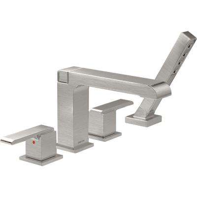 Ara 2-Handle Deck-Mount Roman Tub Faucet with Hand Shower Trim Kit Only in Stainless (Valve Not Included)