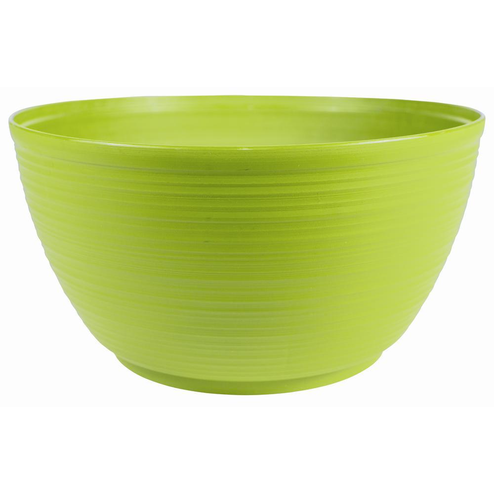 Dura Cotta 12 in. Honey Dew Plastic Plant Bowl
