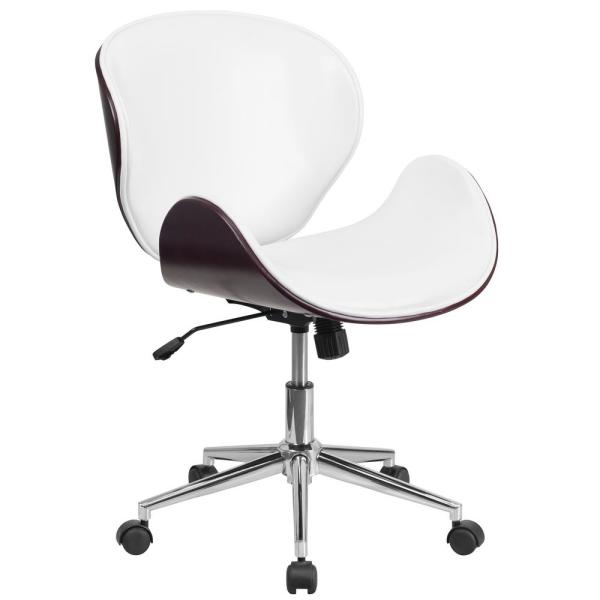Flash Furniture Mid Back Mahogany Wood Swivel Conference Chair In White  Leather
