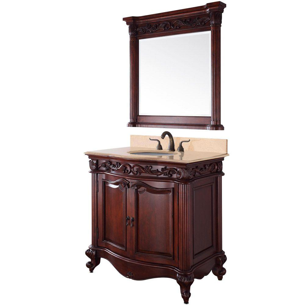 Wyndham Collection Eleanor 37 in. Vanity in Cherry with Marble Vanity Top in Ivory and Mirror-DISCONTINUED