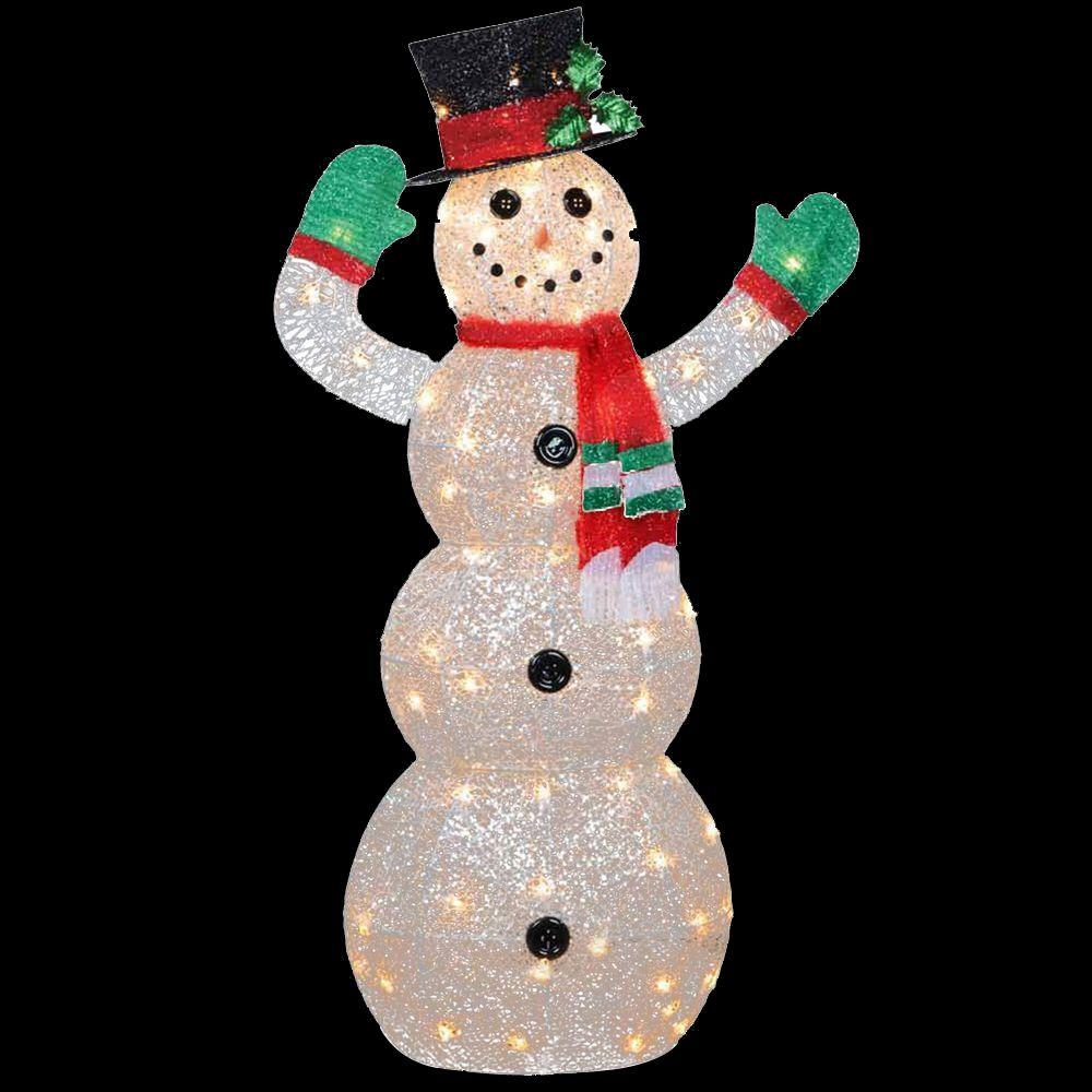 snowman decoration with clear lights