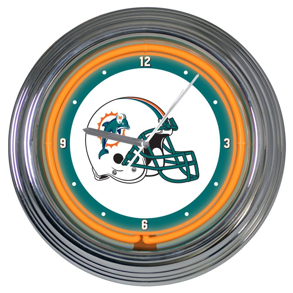 The Memory Company 15 in. NFL License Miami Dolphins Neon Wall Clock-DISCONTINUED