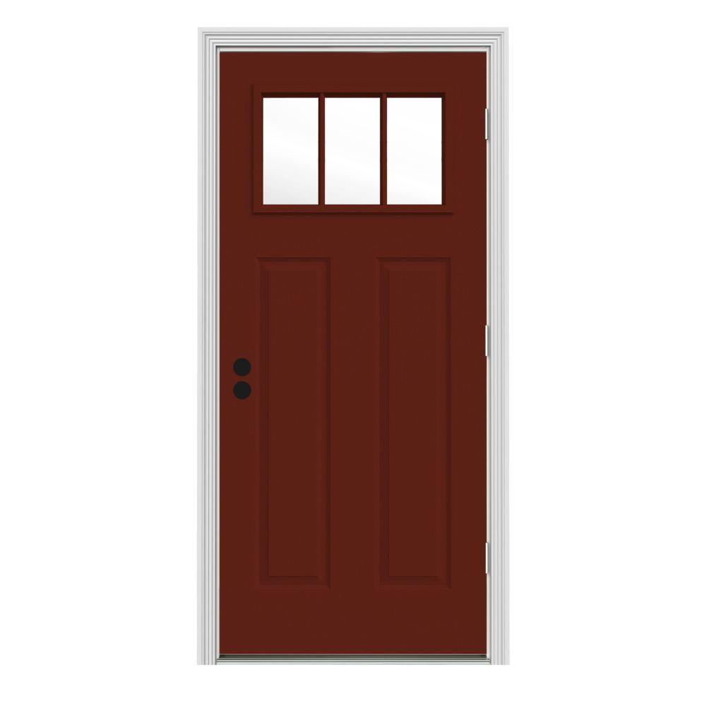 JELD-WEN 34 in. x 80 in. 3 Lite Craftsman Mesa Red Painted Steel Prehung Left-Hand Outswing Front Door w/Brickmould