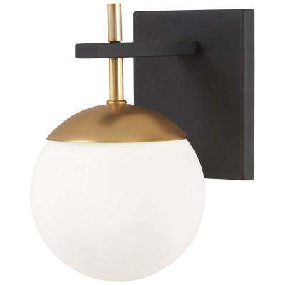 Alluria 1 Light Weathered Black With Autumn Gold Accents Sconce
