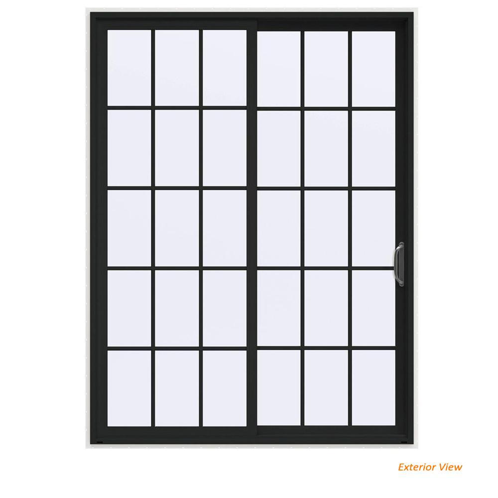 72 in. x 96 in. V-4500 Contemporary Bronze Painted Vinyl Right-Hand 15 Lite Sliding Patio Door w/White Interior
