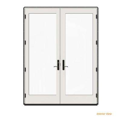 72 in. x 96 in. W-4500 Contemporary Black Clad Wood Right-Hand Full Lite French Patio Door w/White Paint Interior