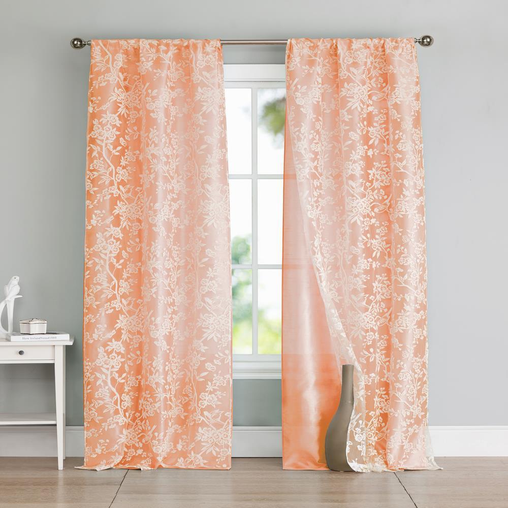 Heidilee 37 in. W x 96 in. L Polyester Window Panel in Peach