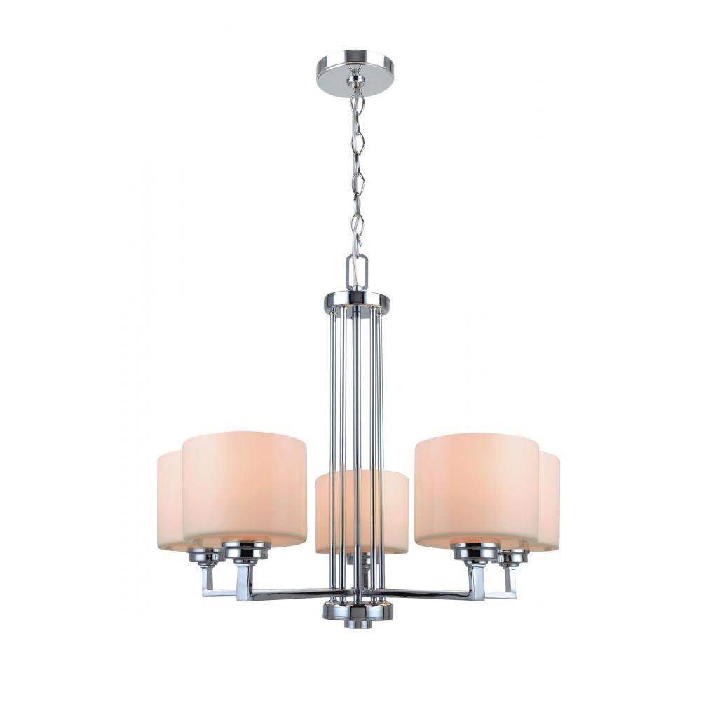 5-Light Polished Chrome Chandelier with White Glass Shades