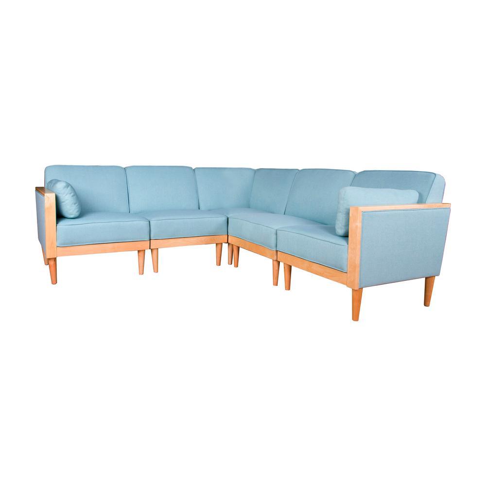 Pembroke Contemporary 5-Piece Sky Blue Fabric Sectional Sofa Set