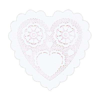 3.5 in. Valentine's Day White Paper Heart Shaped Doilies (28-Count, 8-Pack)