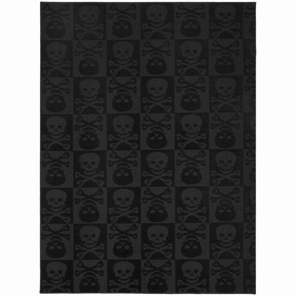 Garland Rug Skulls Black 5 ft  x 7 ft  Area Rug-CL-14-RA-0057-15