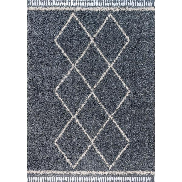 Mercer Shag Plush Tassel Moroccan Tribal Geometric Trellis Denim Blue/Cream 8 ft. x 10 ft. Area Rug