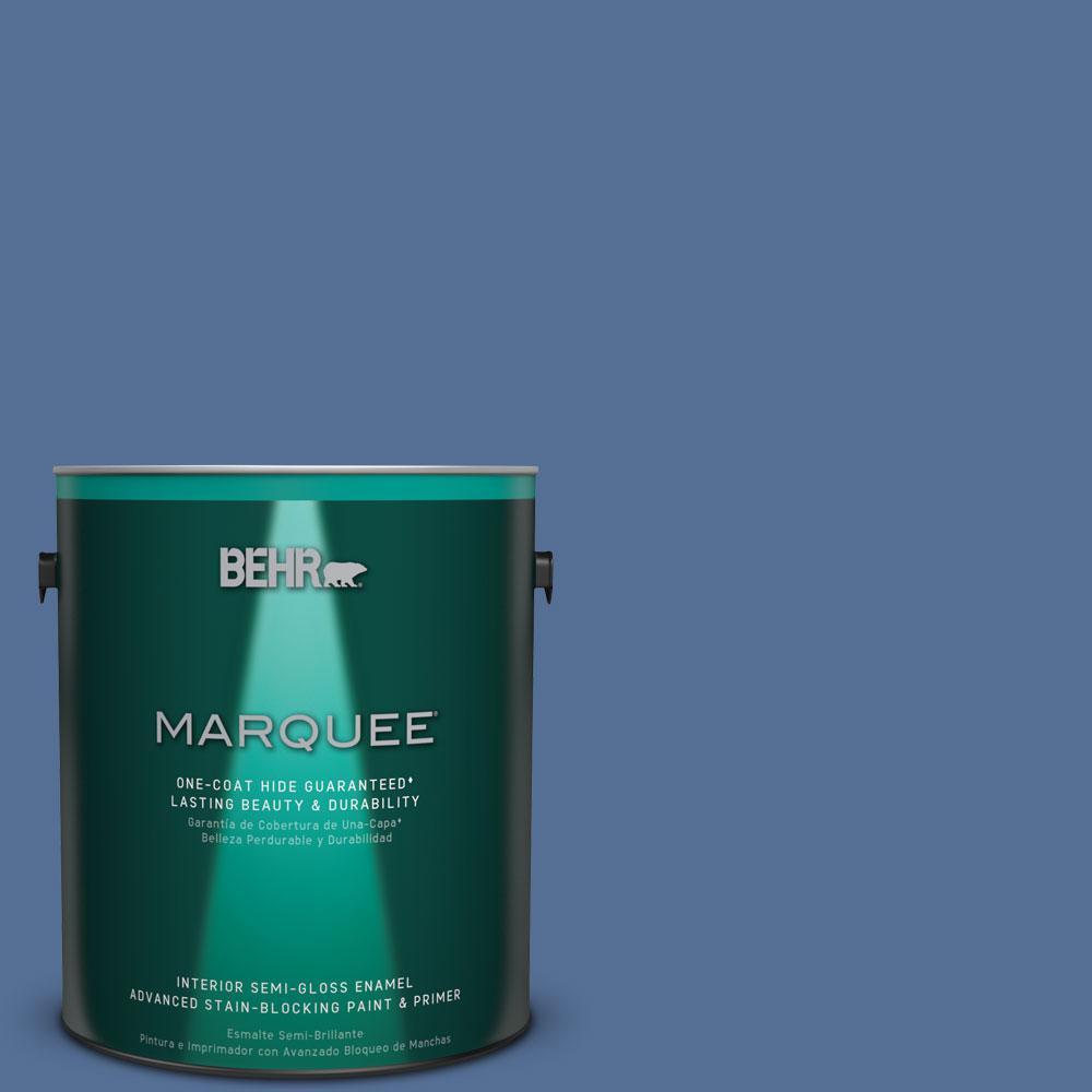 1 gal. #M530-6 Charter Blue One-Coat Hide Semi-Gloss Enamel Interior Paint