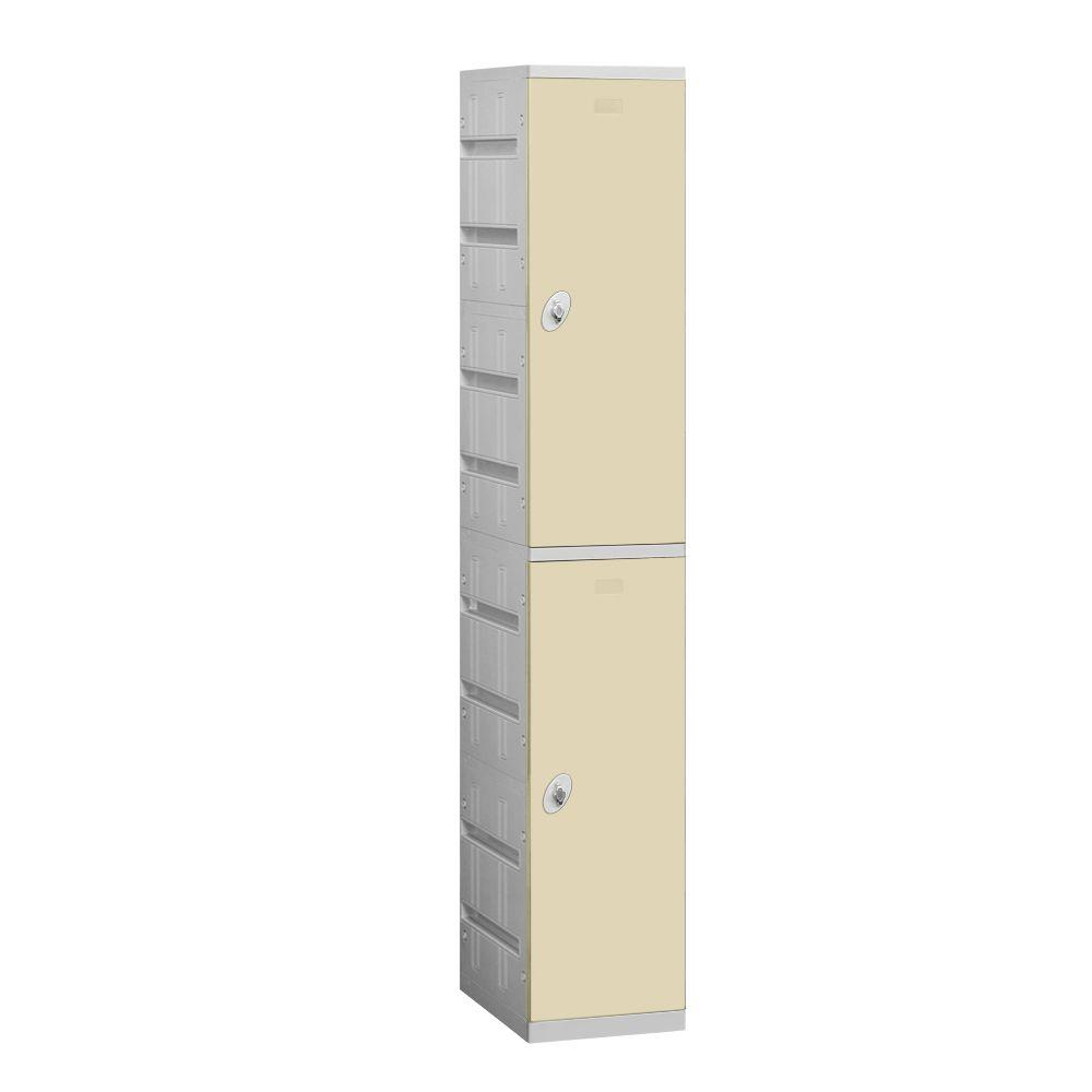 Salsbury Industries 92000 Series 12.75 in. W x 74 in. H x 18 in. D 2-Tier Plastic Lockers Assembled in Tan