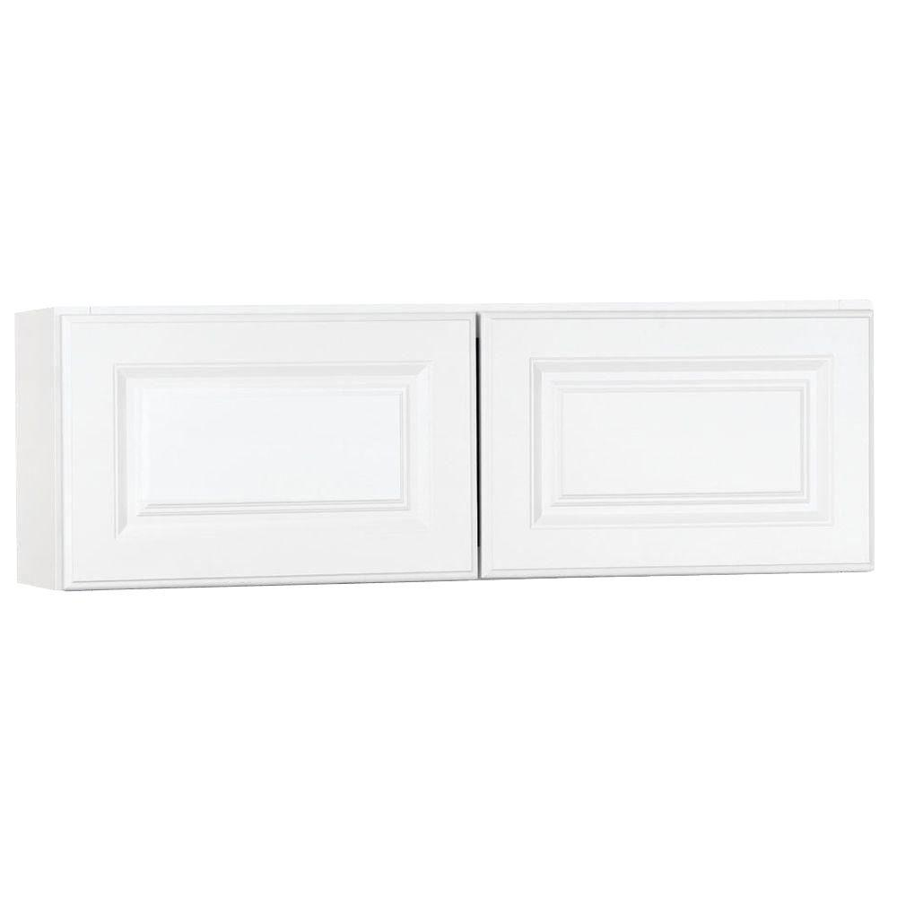 Hampton Bay Hampton Assembled 36x12x12 In. Wall Bridge Kitchen Cabinet In  Satin White