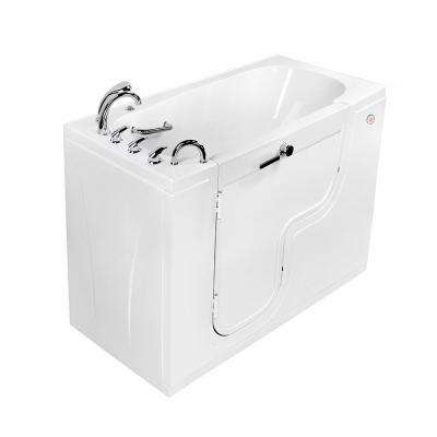 Wheelchair Transfer 60 in. Acrylic Walk-In MicroBubble Air Bath Bathtub in White, Faucet Set, Heated Seat, LH Dual Drain