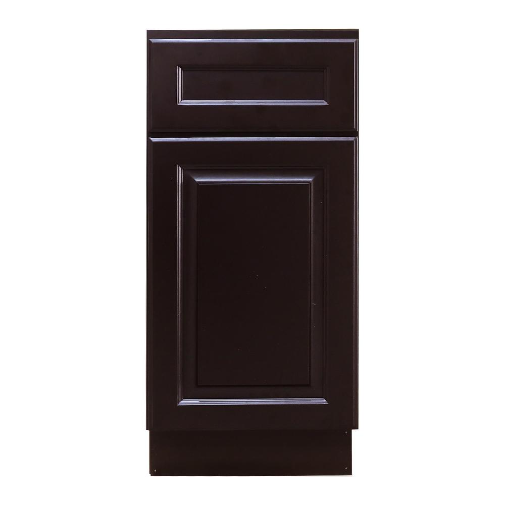 Newport Ready To Assemble 15x34.5x24 In. Base Cabinet With 1 Door And  1 Drawer In Dark Espresso