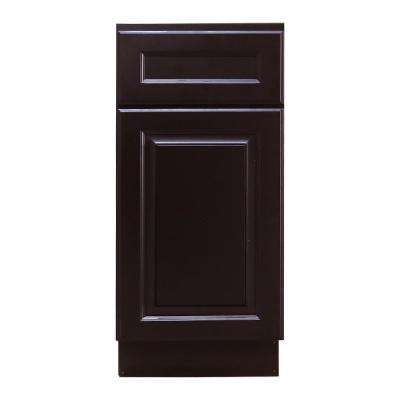 La. Newport Ready to Assemble 15x34.5x24 in. Base Cabinet with 1-Door and 1-Drawer in Dark Espresso