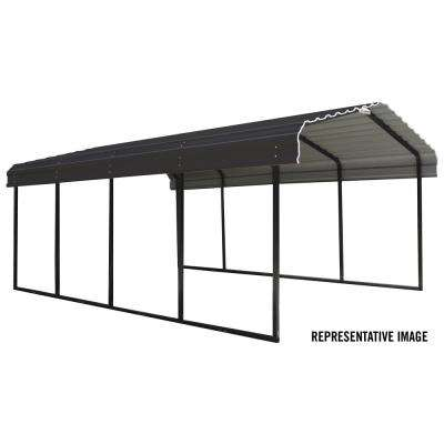 12 ft. W x 24 ft. D Black/Charcoal Galvanized Steel Carport