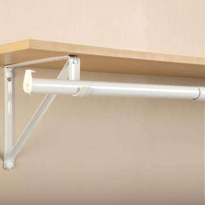 72 in. - 120 in. White Adjustable Closet Rod