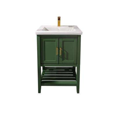 24 in. W x 18.5 in. D Vanity in Vogue Green with Ceramic Vanity Top in White with White Basin