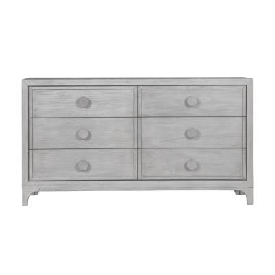 Boho Chic 6-Drawer Washed White Dresser 36 in. H x 66 in. W x 18 in. D