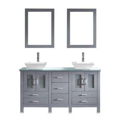 Bradford 60 in. W Bath Vanity in Gray with Glass Vanity Top in Aqua with Square Basin and Mirror and Faucet