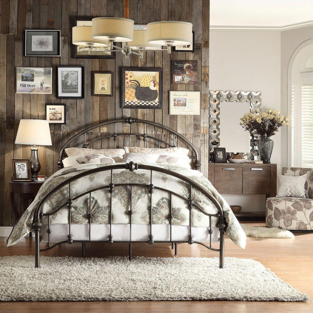 Homesullivan Miranda Bronzed Black Queen Bed Frame