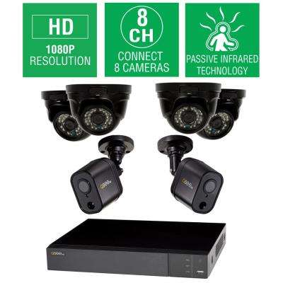 8-Channel 1080p 1TB HD Video Surveillance System with 4-Dome and 2 PIR Bullet Cameras and 100 ft. Night Vision
