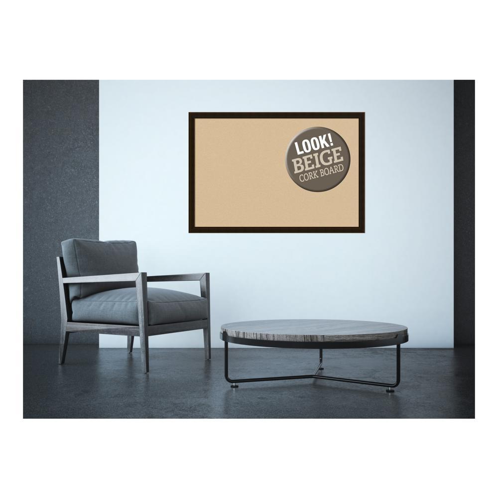 Espresso Brown Wood 38 in. x 26 in. Framed Beige Cork Board