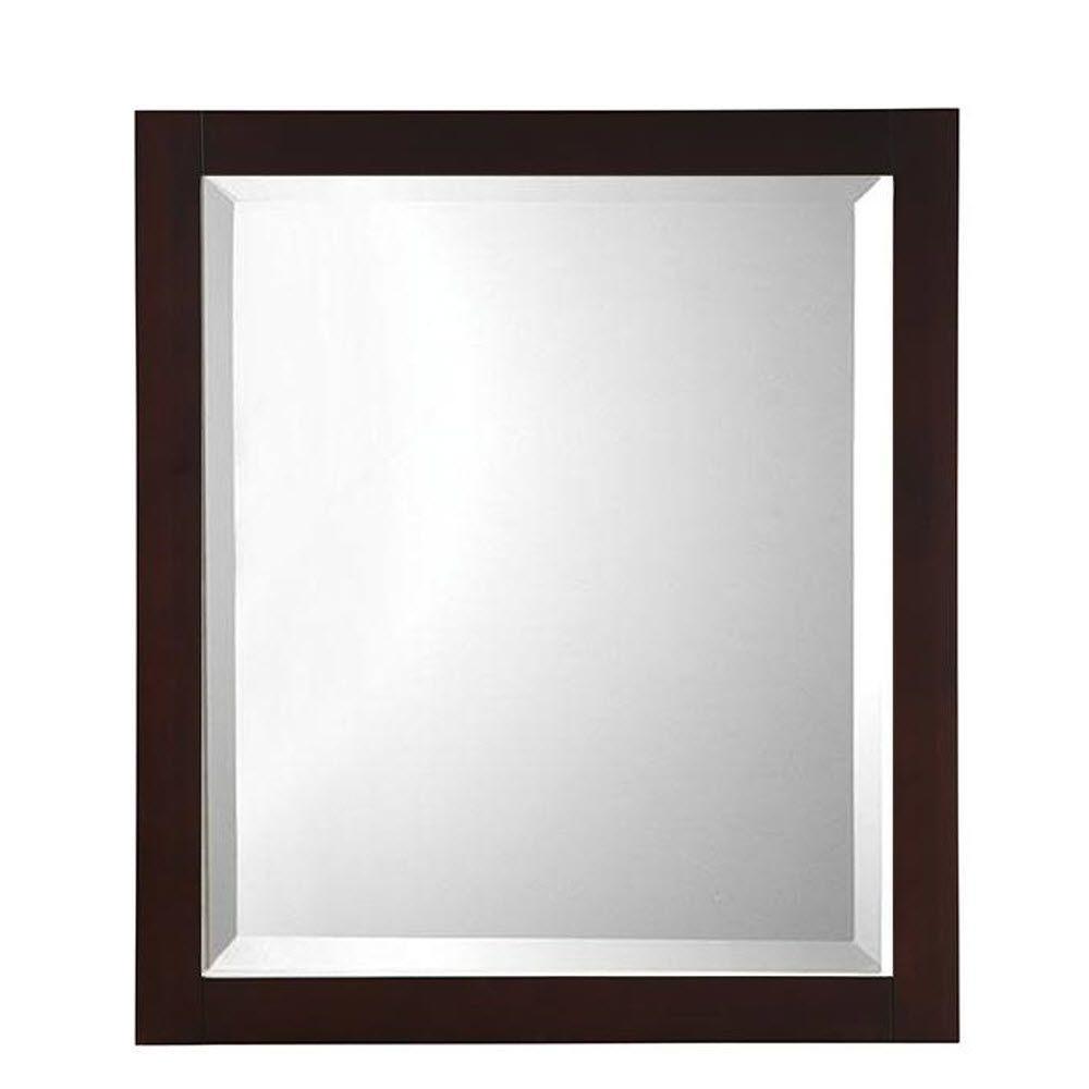 Fraser 32 in. H x 28 in. W Framed Single Wall Mirror in Espresso