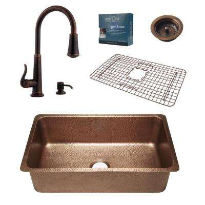 Pfister All-in-One David 31-1/4 in. Undermount Copper Kitchen Sink Combo with Ashfield Rustic Bronze Faucet