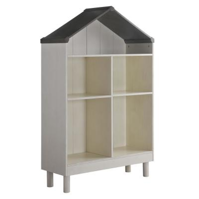 Hut Shaped 55.75 in. H White and Gray with 5-Spacious Shelves Hut Shape Wooden Bookcase