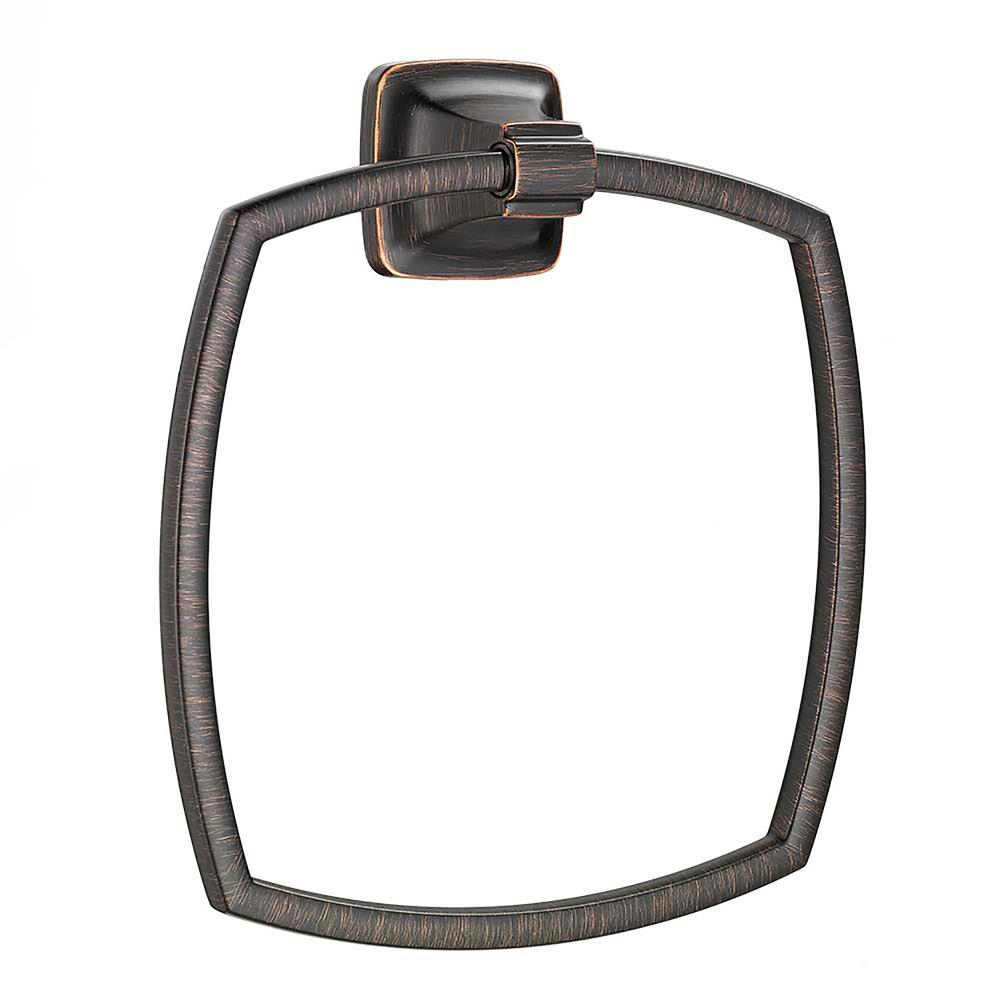 Moen kingsley towel ring in wrought iron yb5486wr the for Bronze and silver bathroom accessories