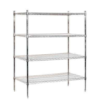48 in. W x 63 in. H x 24 in. D Galvanized Wire Stationary Wire Shelving in Chrome