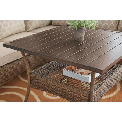 Beacon Park Brown Steel Outdoor Patio High Coffee Dining Table
