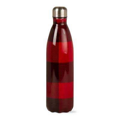 Buffalo Check 16 oz. Red and Black Stainless Steel Bottle