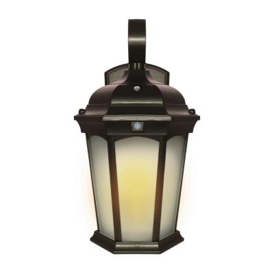 2-Light 14.6 in Bronze Motion Sensing Integrated LED Outdoor Wall Lantern Sconce with Flickering Bulb/Dusk-to-Dawn