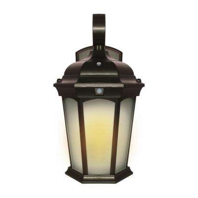 Medium 2-Light 14.6 in Bronze Motion Sensing Integrated LED Outdoor Wall Mount Lantern with Flickering Bulb/Dusk-to-Dawn