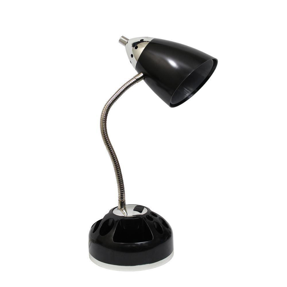 Flossy 18.5 in. Black Organizer Desk Lamp with Charging Outlet Lazy