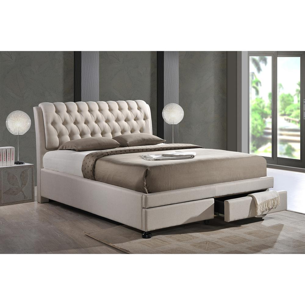Baxton Fabric Upholstered King Size Storage Beds