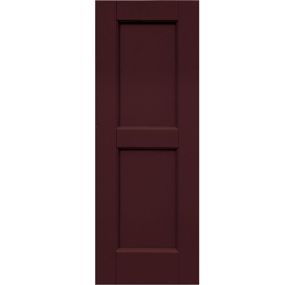 Winworks Wood Composite 12 in. x 33 in. Contemporary Flat Panel Shutters Pair #657 Polished Mahogany